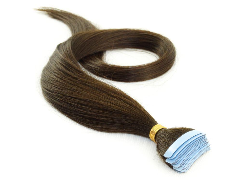 Mega Hair Fita Adesiva Cabelo Humano Classic Castanho Médio #4 - 20 peças 65cm 60g