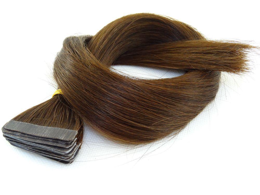 Mega Hair Fita Adesiva Cabelo Humano Classic Chocolate - 20 peças 45cm 50g
