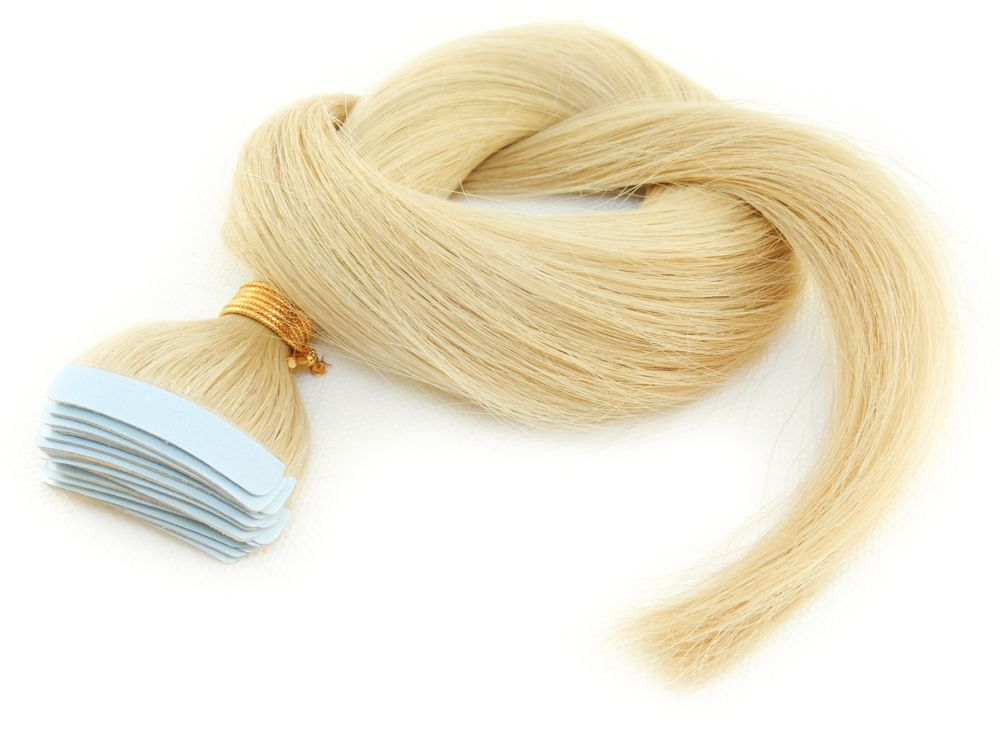 Mega Hair Fita Adesiva Cabelo Humano Classic Loiro Claríssimo #10 - 20 peças 55cm 50g