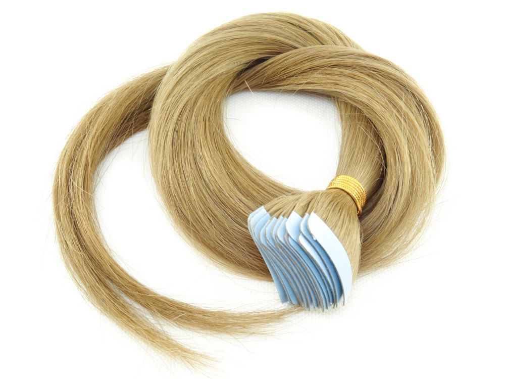 Mega Hair Fita Adesiva Cabelo Humano Classic Loiro Claro #9 - 20 peças 55cm 50g