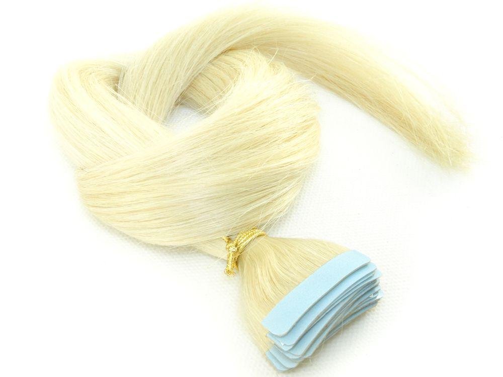 Mega Hair Fita Adesiva Cabelo Humano Classic Loiro Platinado #12 - 20 peças 55cm 50g