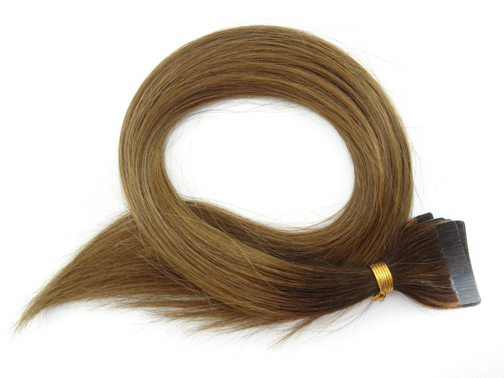 Mega Hair Fita Adesiva Cabelo Humano Classic Ombre Castanho #2/6 - 20 peças 55cm 50g