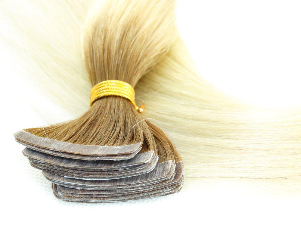 Mega Hair Fita Adesiva Cabelo Humano Classic Ombre Loiro #6/613 - 20 peças 55cm 50g