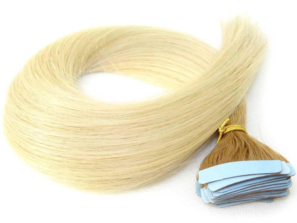 Mega Hair Fita Adesiva Cabelo Humano Classic Ombre Loiro #6/613 - 20 peças 45cm 50g
