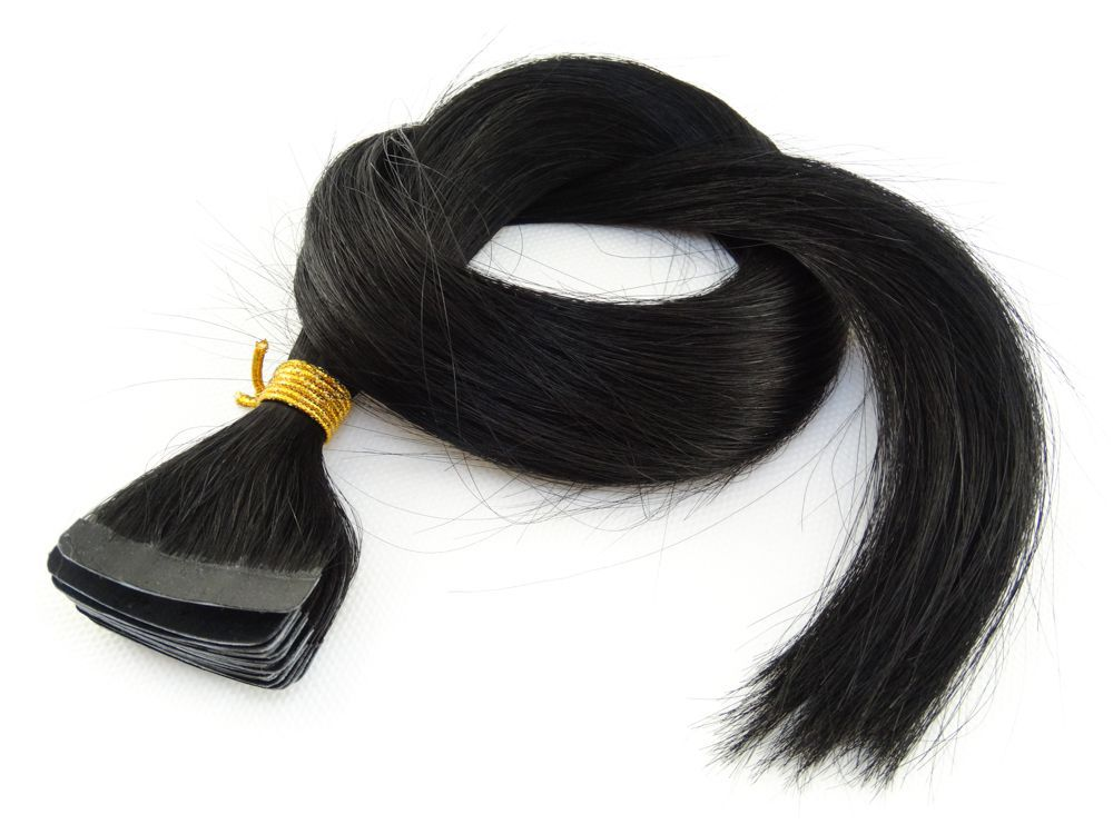 Mega Hair Fita Adesiva Cabelo Humano Classic Preto #1 - 20 peças 35cm 30g