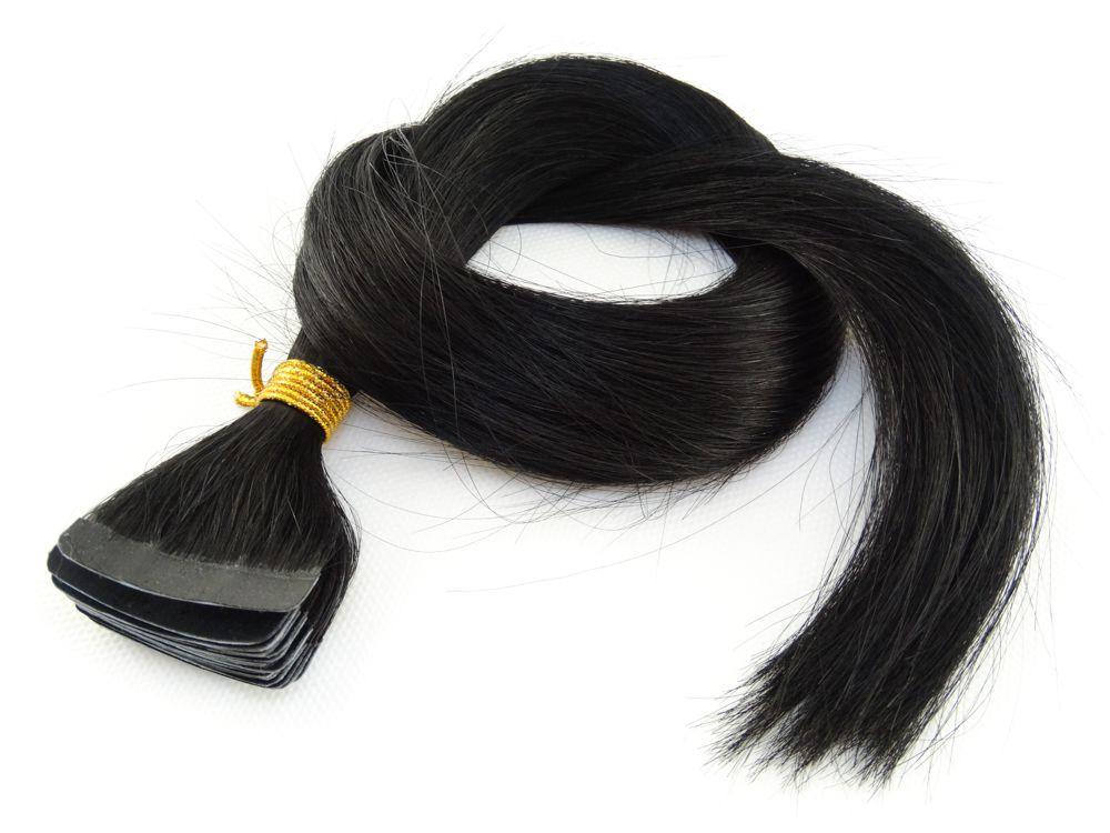 Mega Hair Fita Adesiva Cabelo Humano Classic Preto #1 - 20 peças 55cm 50g