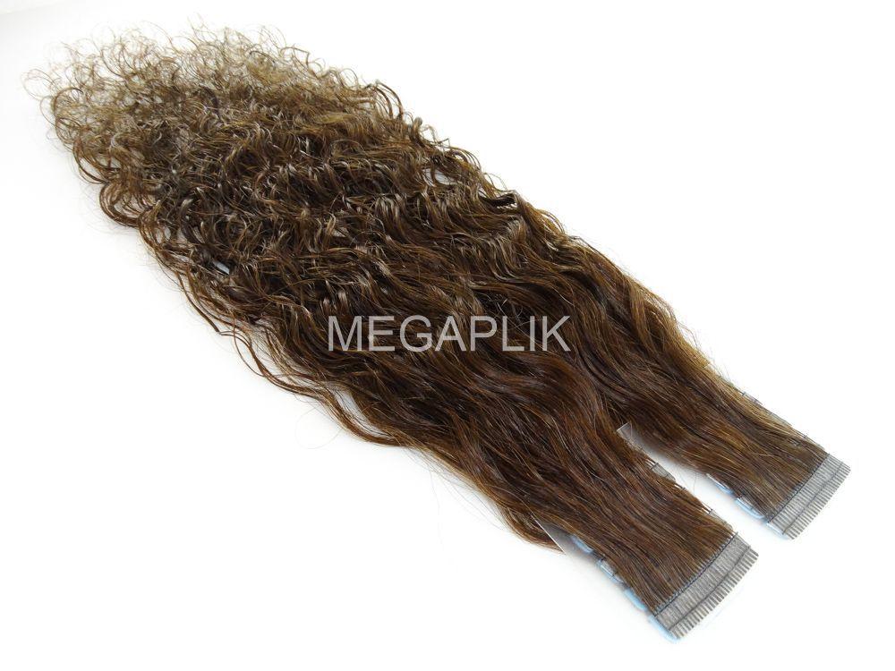Mega Hair Fita Adesiva Cabelo Humano Premium Cacheado Castanho Claro #6 - 20 peças 55cm 50g