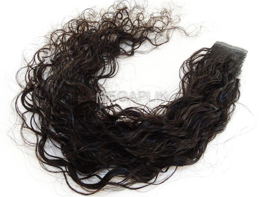 Mega Hair Fita Adesiva Cabelo Humano Premium Cacheado Castanho Escuro Natural - 10 peças 55cm 25g
