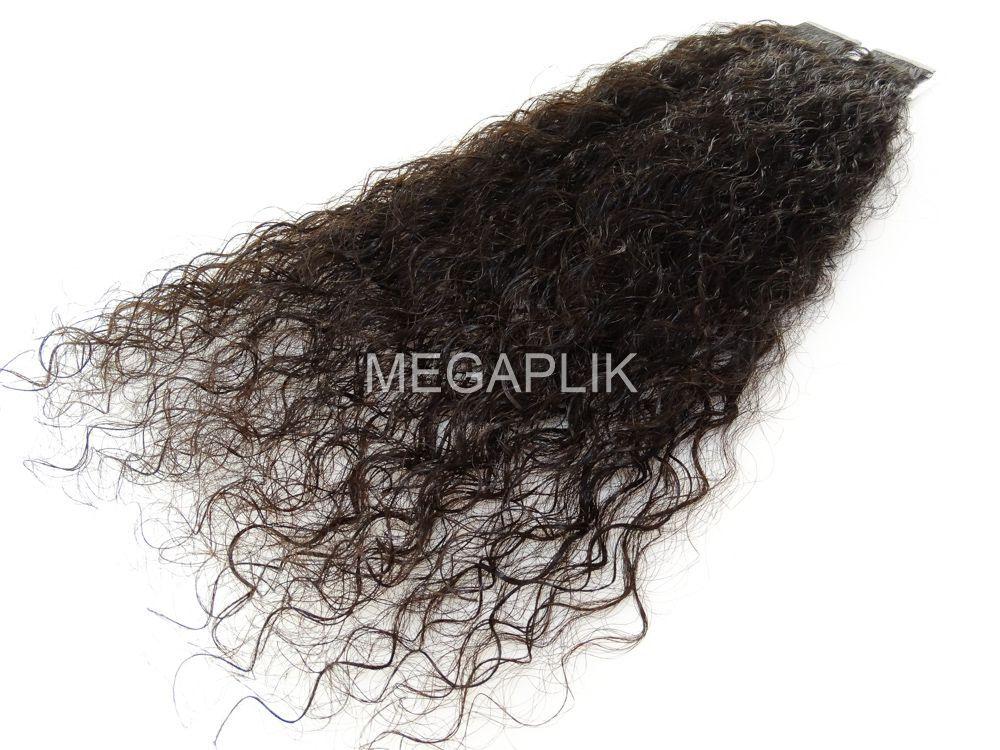 Mega Hair Fita Adesiva Cabelo Humano Premium Cacheado Castanho Escuro Natural - 20 peças 55cm 50g