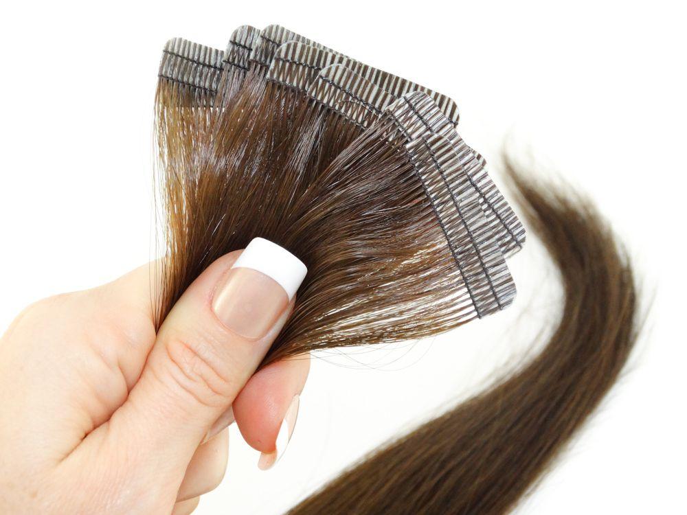 Mega Hair Fita Adesiva Cabelo Humano Premium Castanho Claro #6 - 10 peças 65cm 30g