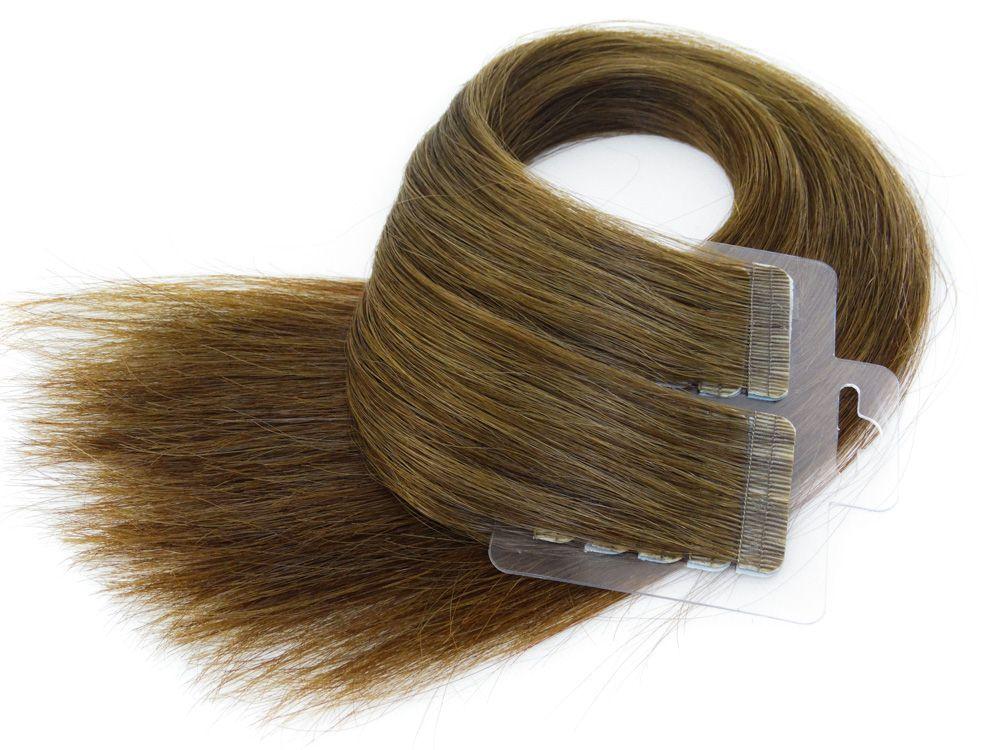 Mega Hair Fita Adesiva Cabelo Humano Premium Castanho Claro #6 - 20 peças 45cm 40g