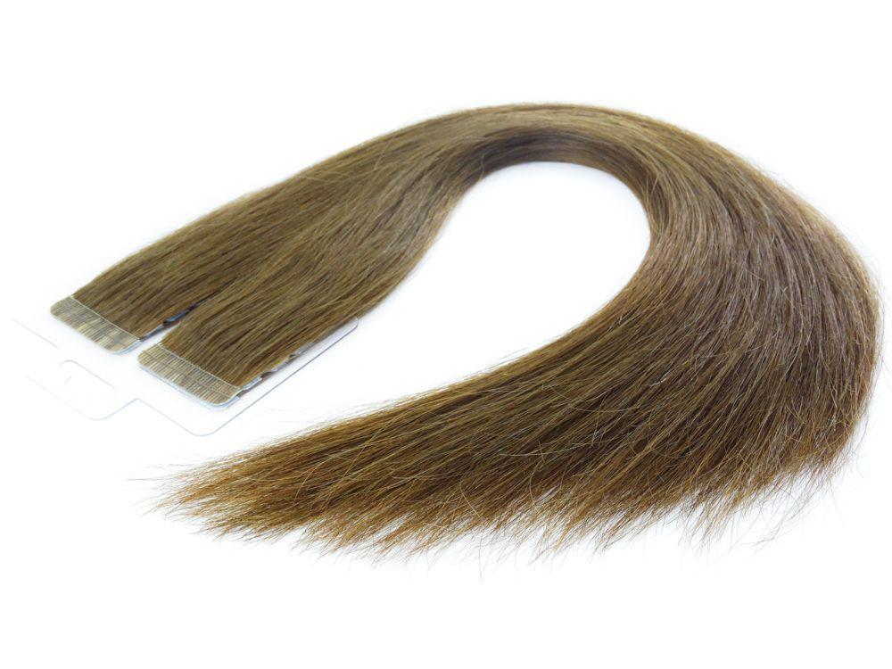 Mega Hair Fita Adesiva Cabelo Humano Premium Castanho Claro #6 - 20 peças 65cm 60g