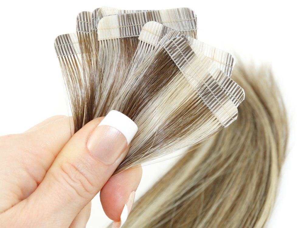Mega Hair Fita Adesiva Cabelo Humano Premium Castanho e Loiro Mechado #6/10 - 10 peças 55cm 25g