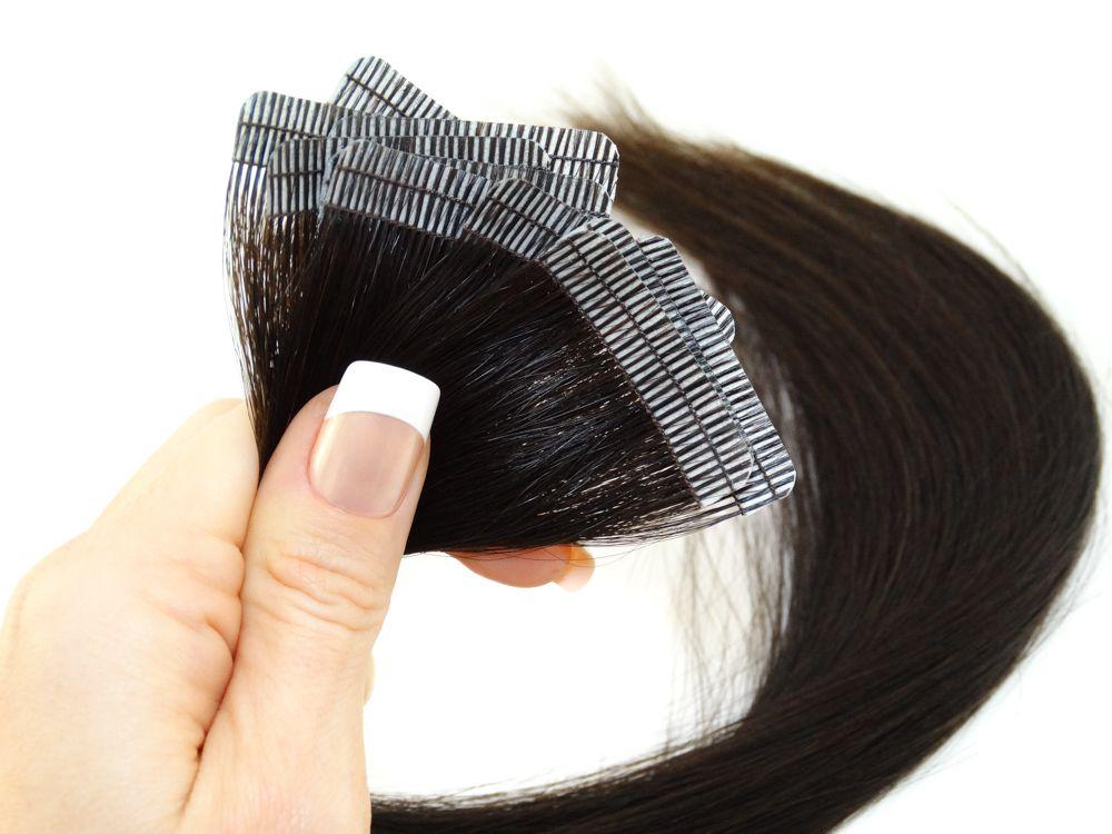 Mega Hair Fita Adesiva Cabelo Humano Premium Castanho Escuro Natural - 10 peças 45cm 20g