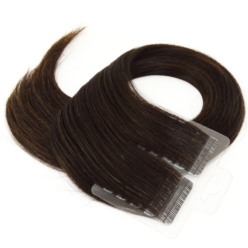 Mega Hair Fita Adesiva Cabelo Humano Premium Castanho Escuro #3 - 20 peças 65cm 60g