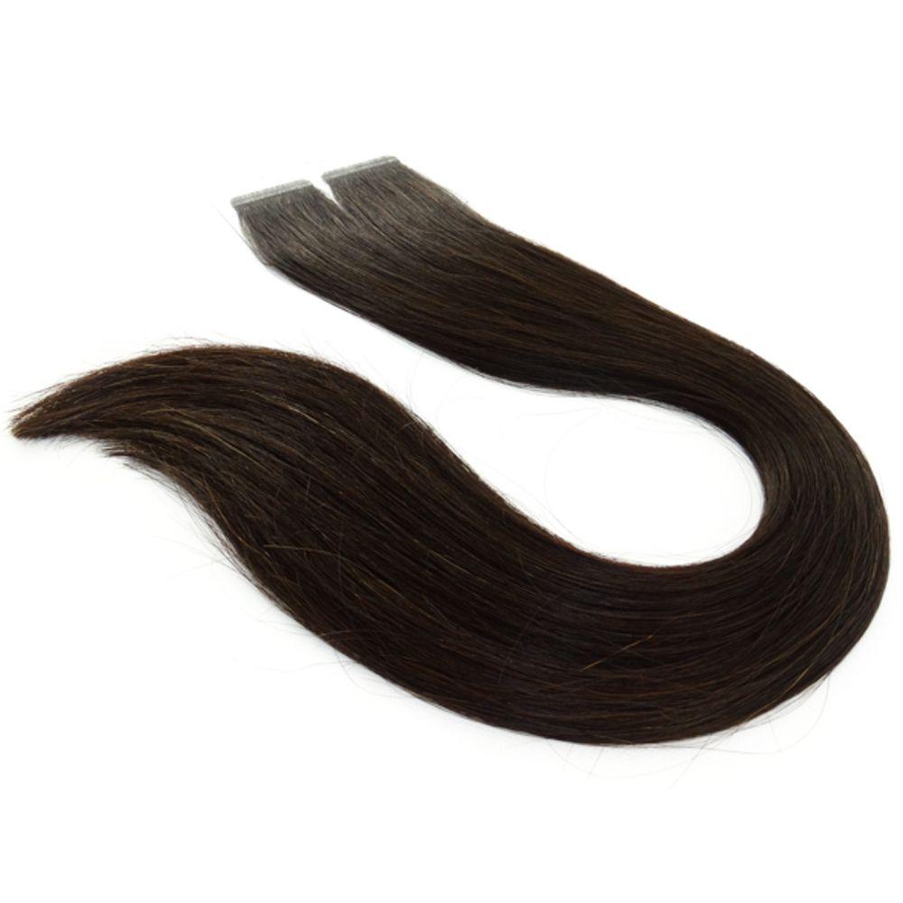 Mega Hair Fita Adesiva Cabelo Humano Premium Castanho Escuro Natural - 20 peças 65cm 60g