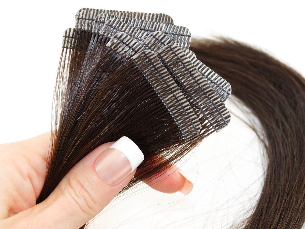 Mega Hair Fita Adesiva Cabelo Humano Premium Castanho Médio #4 - 10 peças 35cm 15g