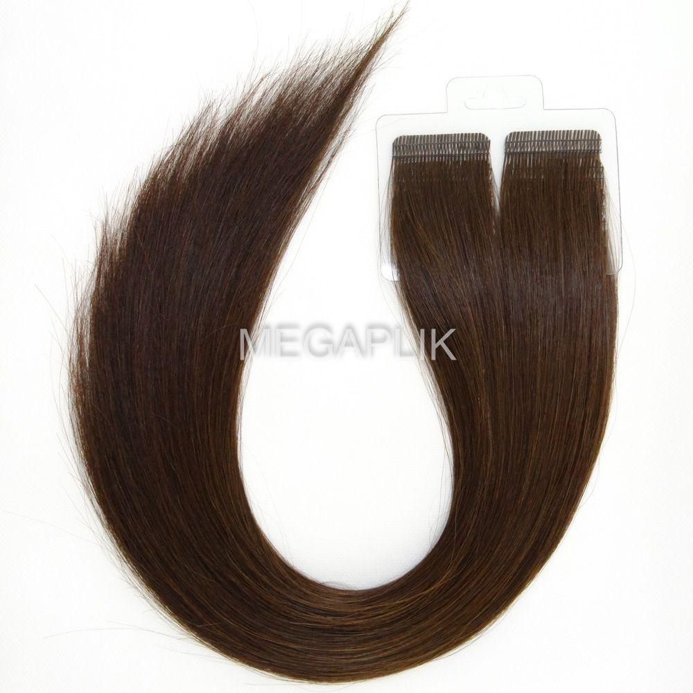 Mega Hair Fita Adesiva Cabelo Humano Premium Castanho Médio #4 - 20 peças 35cm 30g
