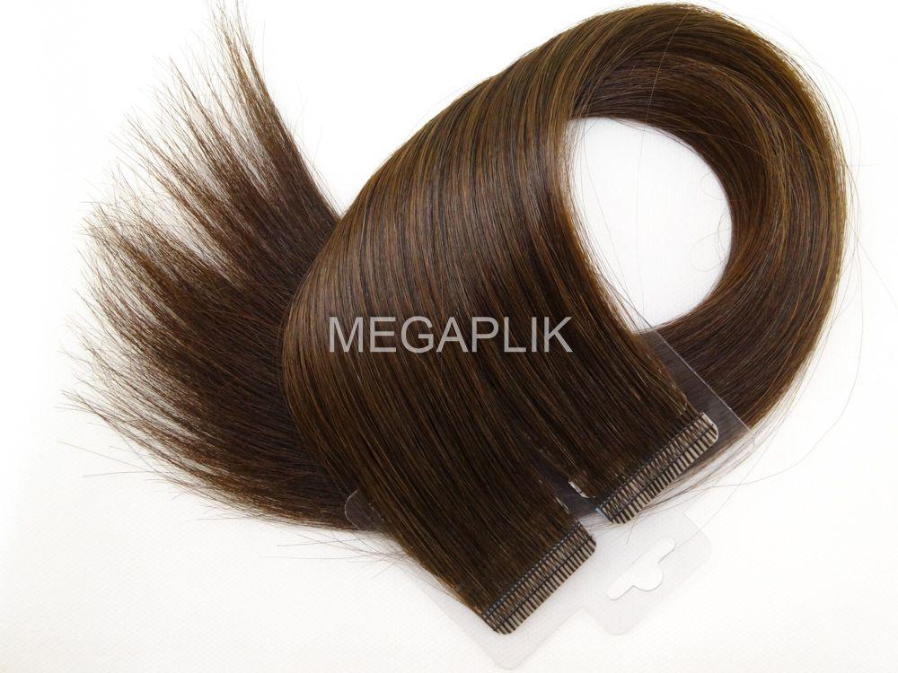 Mega Hair Fita Adesiva Cabelo Humano Premium Castanho Médio #4 - 20 peças 45cm 40g