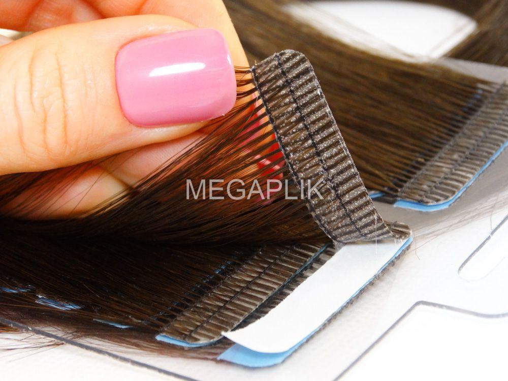 Mega Hair Fita Adesiva Cabelo Humano Premium Castanho Médio #4 - 20 peças 65cm 60g