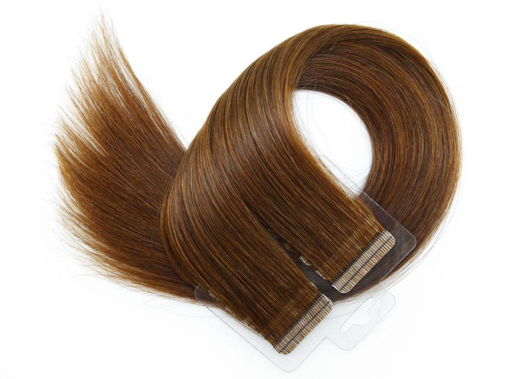 Mega Hair Fita Adesiva Cabelo Humano Premium Chocolate #66 - 20 peças 45cm 40g