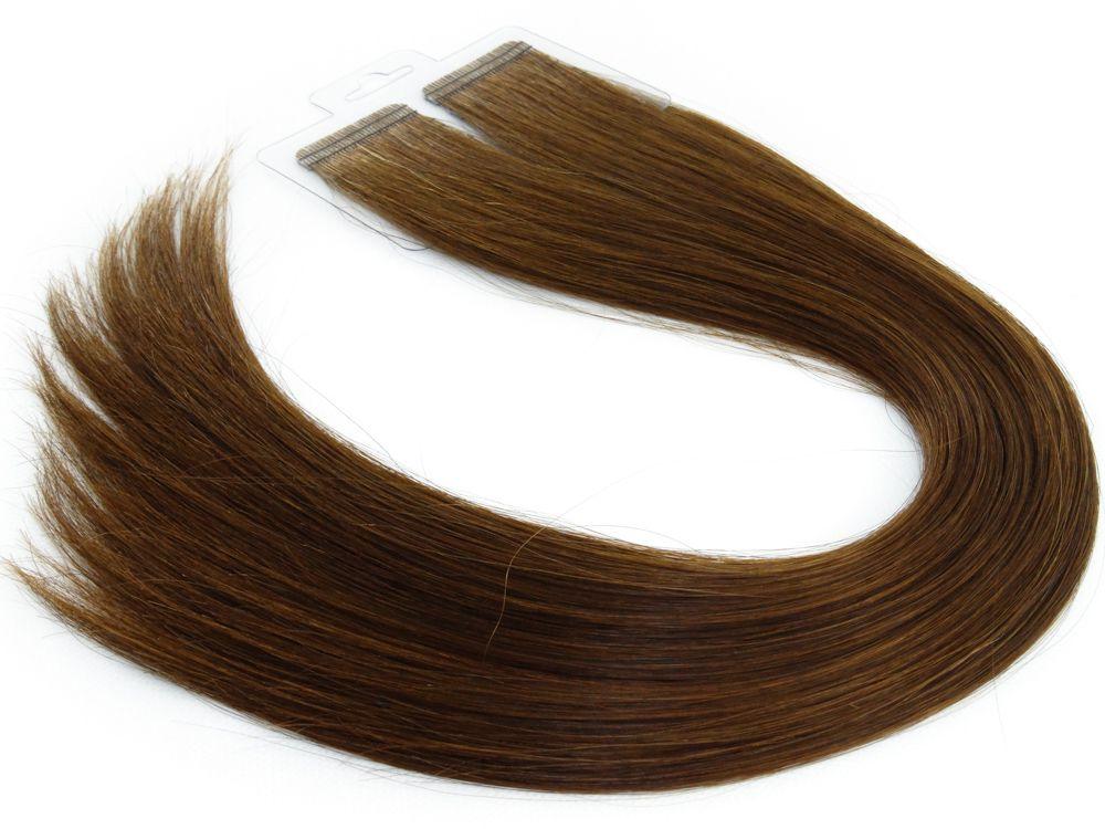 Mega Hair Fita Adesiva Cabelo Humano Premium Chocolate #66 - 20 peças 55cm 50g