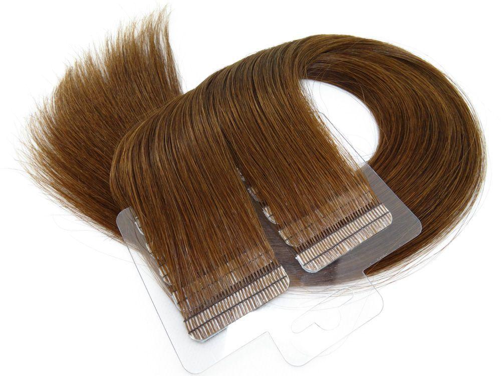 Mega Hair Fita Adesiva Cabelo Humano Premium Chocolate #66 - 20 peças 65cm 60g