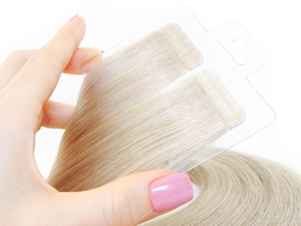 Mega Hair Fita Adesiva Cabelo Humano Premium Loiro Acinzentado #121 - 20 peças 55cm 50g