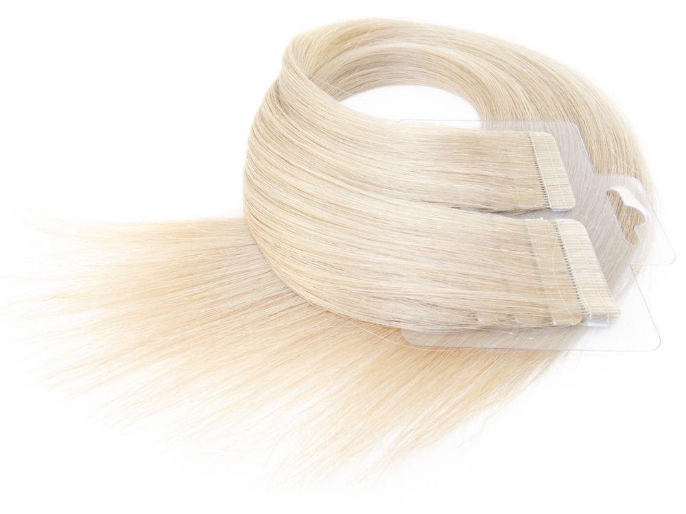 Mega Hair Fita Adesiva Cabelo Humano Premium Loiro Acinzentado #121 - 20 peças 65cm 60g