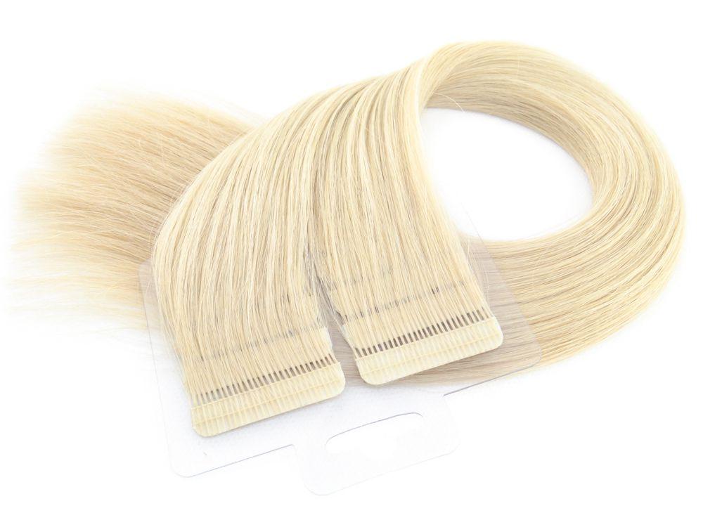 Mega Hair Fita Adesiva Cabelo Humano Premium Loiro Claríssimo #10 - 20 peças 55cm 50g
