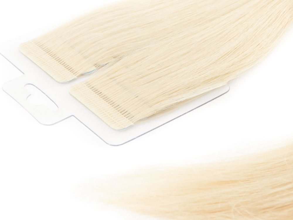 Mega Hair Fita Adesiva Cabelo Humano Premium Loiro Claríssimo #10 - 20 peças 65cm 60g