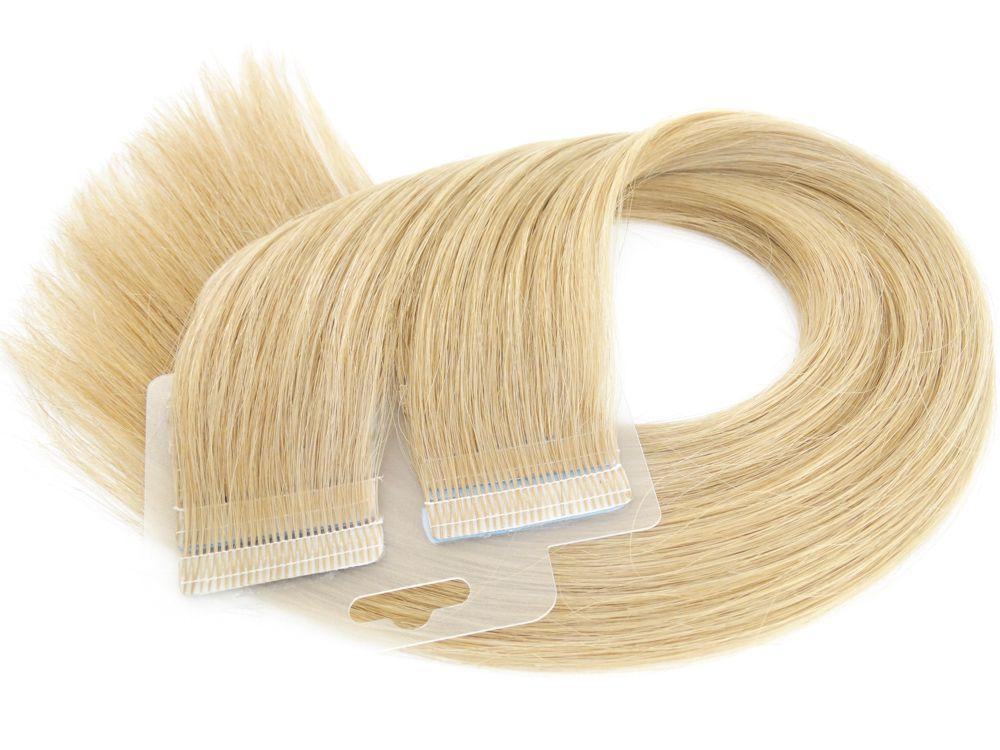 Mega Hair Fita Adesiva Cabelo Humano Premium Loiro Claro #9 - 20 peças 45cm 40g