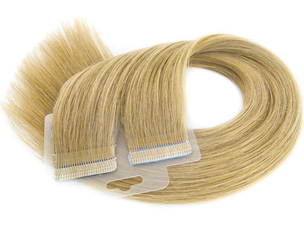 Mega Hair Fita Adesiva Cabelo Humano Premium Loiro Claro #9 - 20 peças 55cm 50g