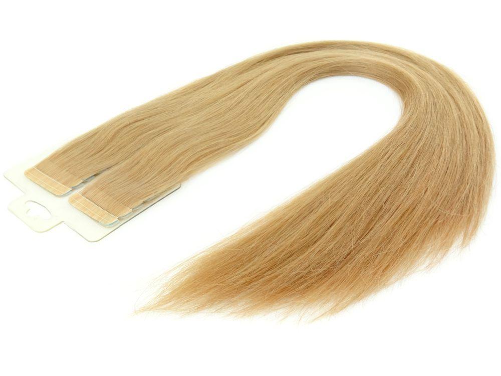 Mega Hair Fita Adesiva Cabelo Humano Premium Loiro Claro Dourado Acobreado - 20 peças 55cm 50g