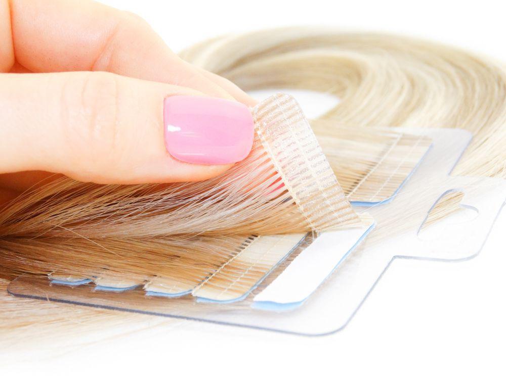 Mega Hair Fita Adesiva Cabelo Humano Premium Loiro Mechado #9/12 - 20 peças 45cm 40g