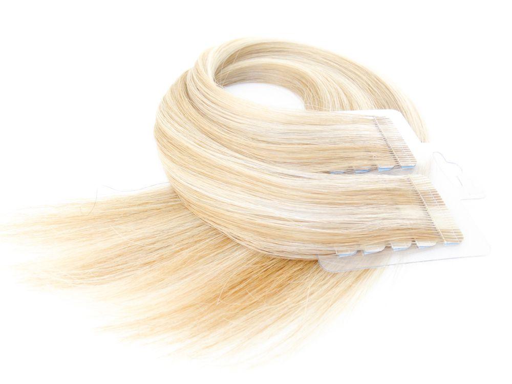 Mega Hair Fita Adesiva Cabelo Humano Premium Loiro Mechado #9/12 - 20 peças 55cm 50g