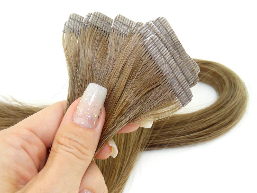 Mega Hair Fita Adesiva Cabelo Humano Premium Loiro Médio Escuro #7 - 10 peças 35cm 15g