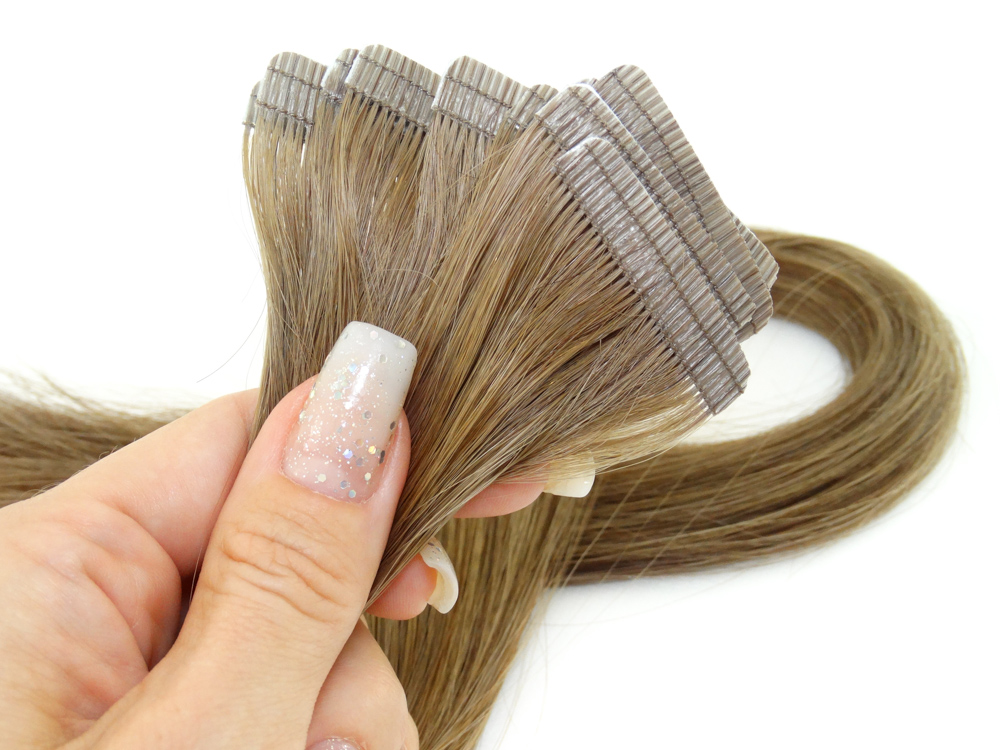 Mega Hair Fita Adesiva Cabelo Humano Premium Loiro Médio Escuro #7 - 10 peças 55cm 30g