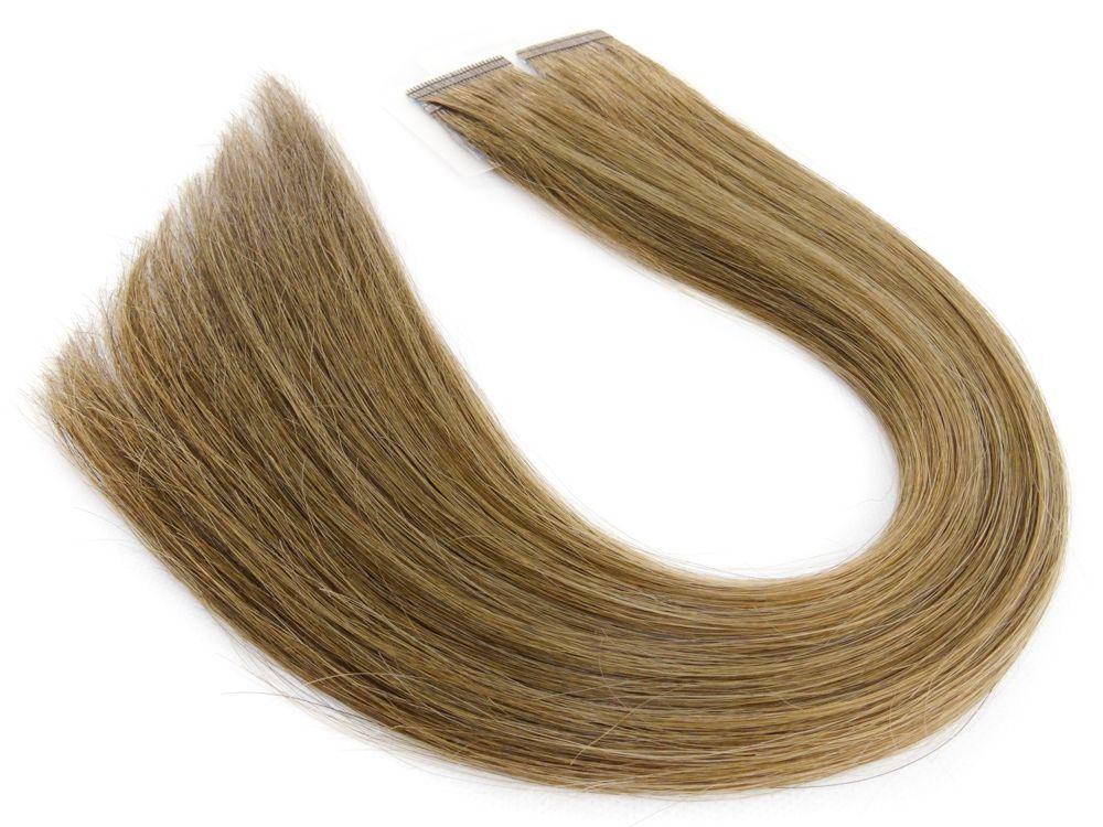 Mega Hair Fita Adesiva Cabelo Humano Premium Loiro Médio Escuro #7 - 20 peças 35cm 30g