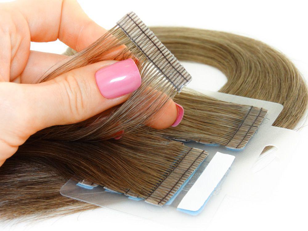 Mega Hair Fita Adesiva Cabelo Humano Premium Loiro Médio Escuro #7 - 20 peças 45cm 40g