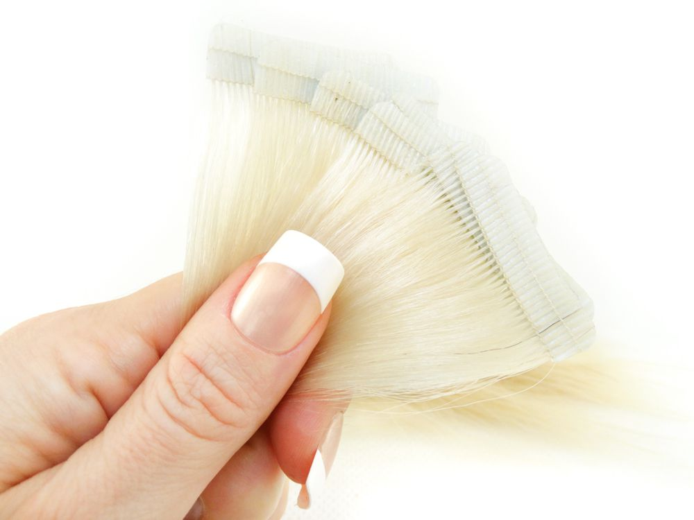 Mega Hair Fita Adesiva Cabelo Humano Premium Loiro Platinado #12 - 10 peças 35cm 15g