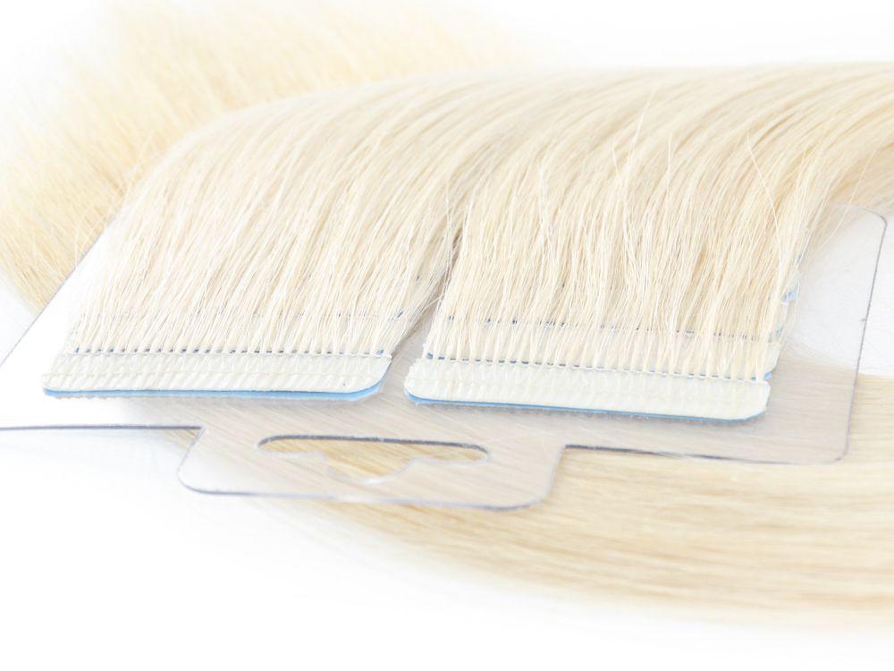 Mega Hair Fita Adesiva Cabelo Humano Premium Loiro Platinado #12 - 20 peças 45cm 40g