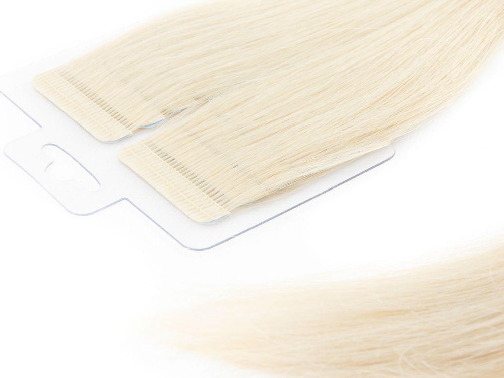 Mega Hair Fita Adesiva Cabelo Humano Premium Loiro Platinado #12 - 20 peças 65cm 60g