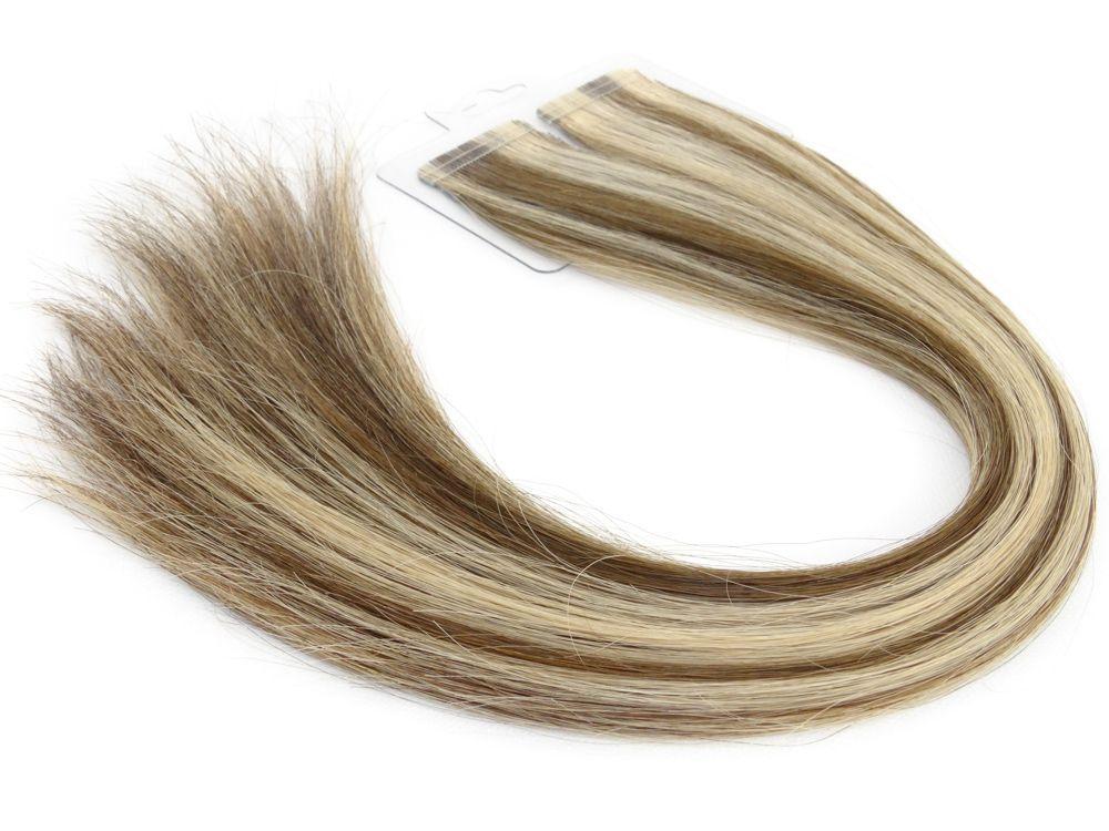 Mega Hair Fita Adesiva Cabelo Humano Premium Castanho e Loiro Mechado #6/10 - 20 peças 35cm 30g