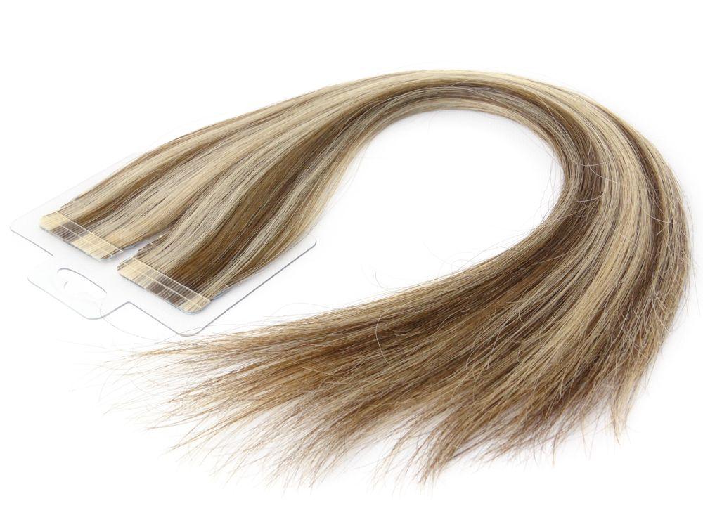 Mega Hair Fita Adesiva Cabelo Humano Premium Mechado #6/10 - 20 peças 55cm 50g