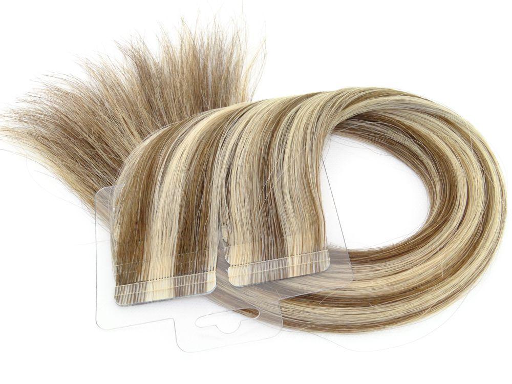 Mega Hair Fita Adesiva Cabelo Humano Premium Castanho e Loiro Mechado #6/10 - 20 peças 55cm 50g