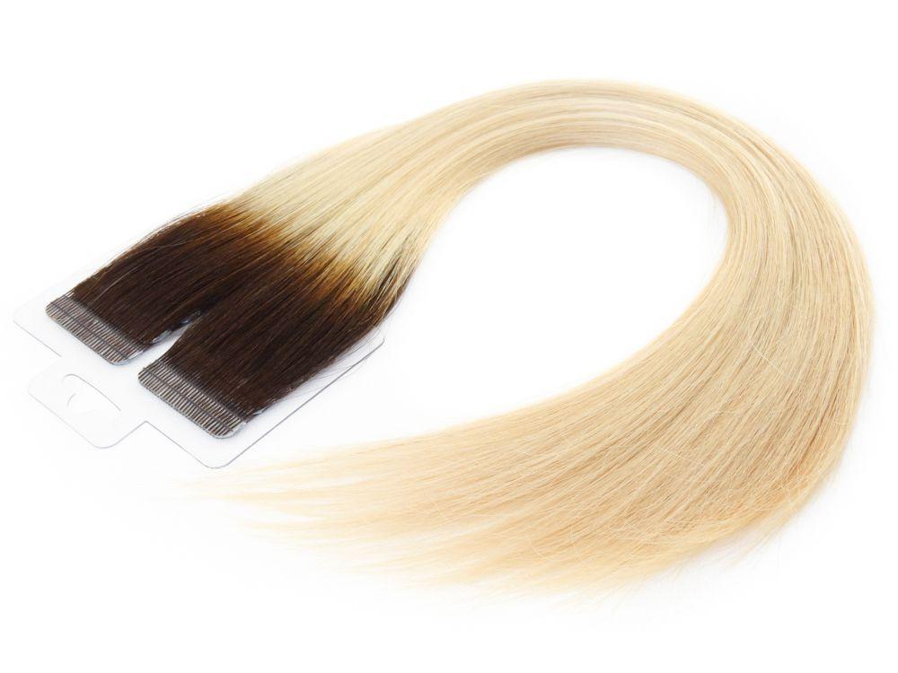 Mega Hair Fita Adesiva Cabelo Humano Premium Ombre #4/10 - 20 peças 35cm 30g