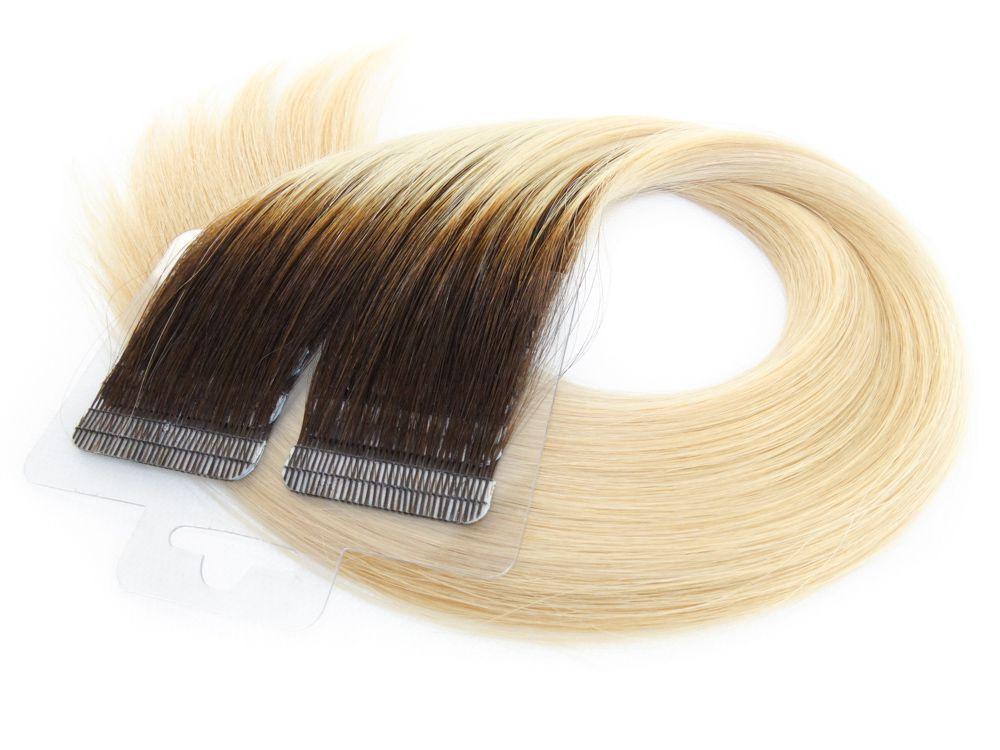 Mega Hair Fita Adesiva Cabelo Humano Premium Ombre Castanho e Loiro Claríssimo #4/10 - 20 peças 35cm 30g