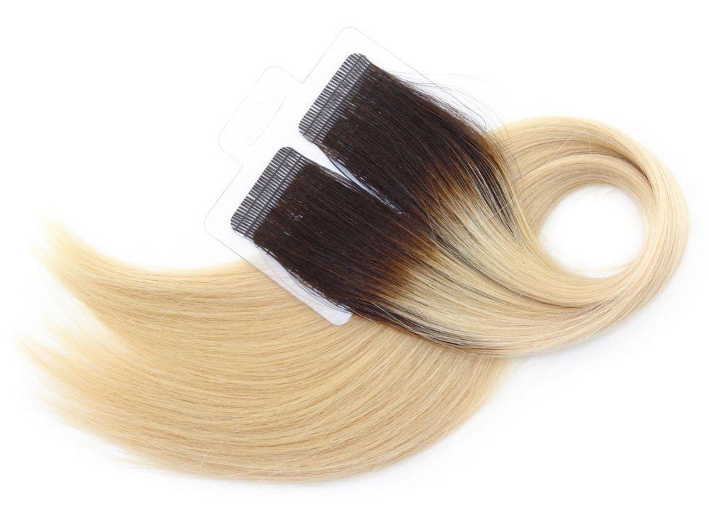 Mega Hair Fita Adesiva Cabelo Humano Premium Ombre Castanho e Loiro Claríssimo #4/10 - 20 peças 55cm 50g