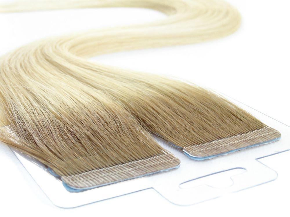 Mega Hair Fita Adesiva Cabelo Humano Premium Ombre Loiro Platinado #7/12 - 20 peças 45cm 40g